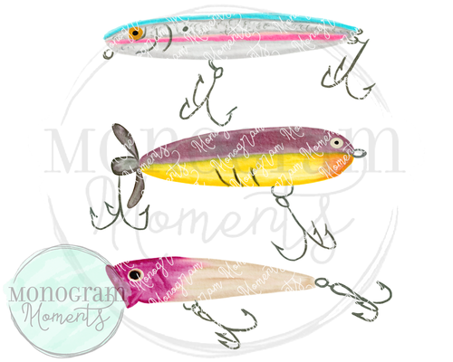 Girl's Watercolor Fishing Lures