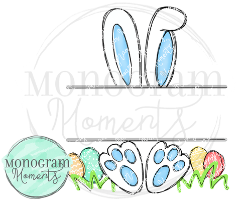 Outlined Easter Bunny Name Plate-Blue