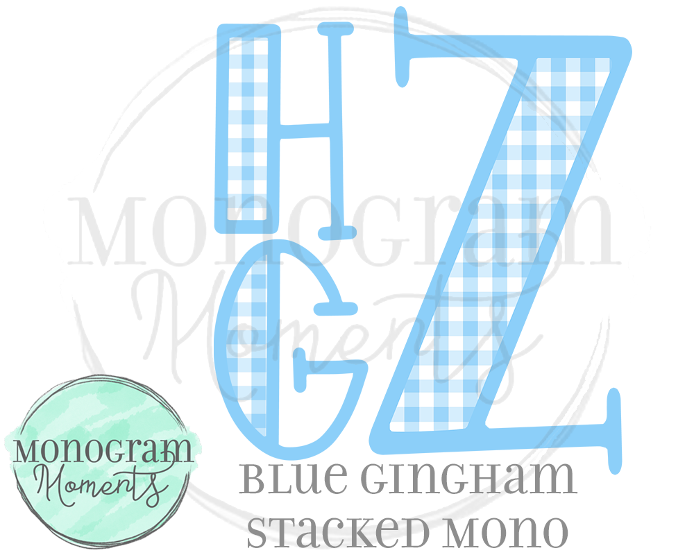 Blue Gingham Stacked Mono