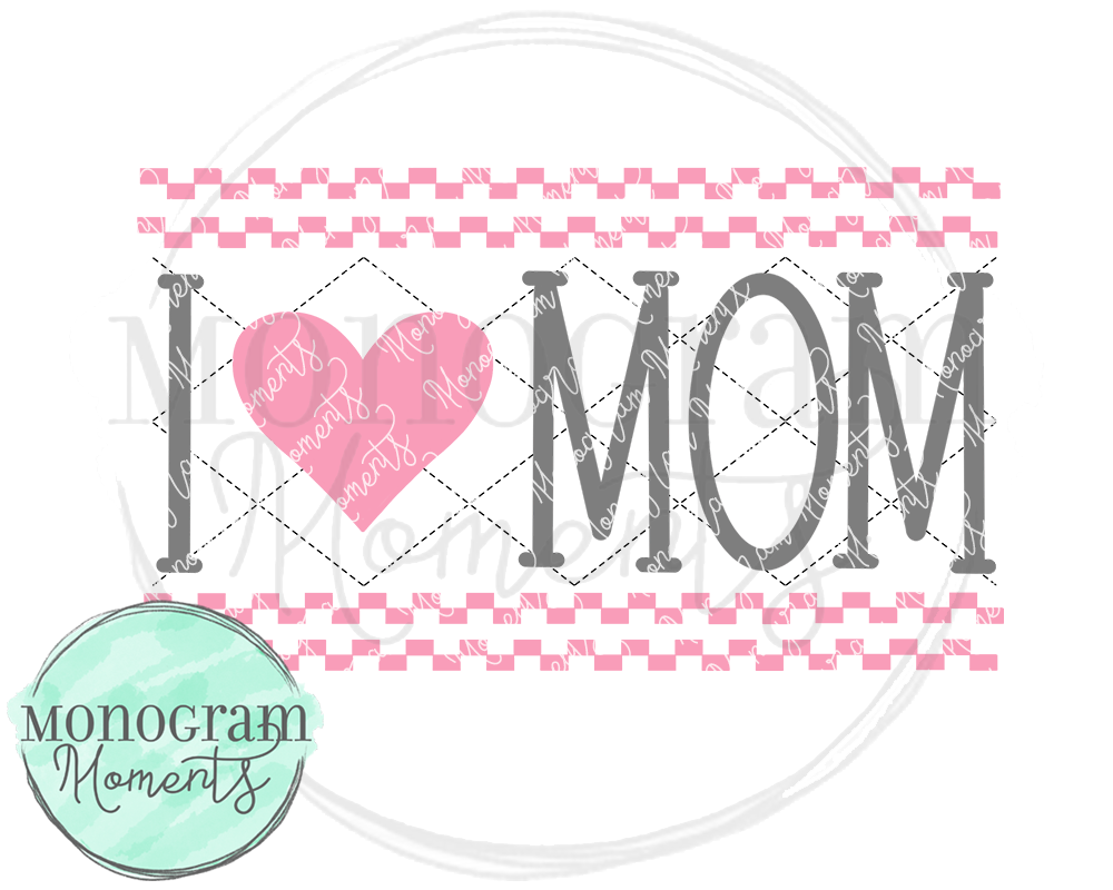 Pink I Love Mom Faux Smock
