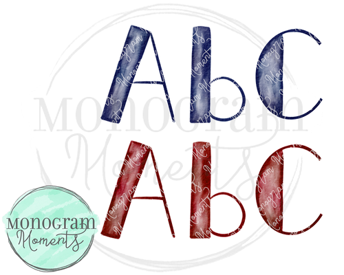 Crimson & Navy Watercolor Side-Block PNG Font