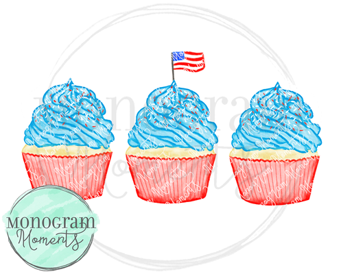 4th of July Cupcake Trio