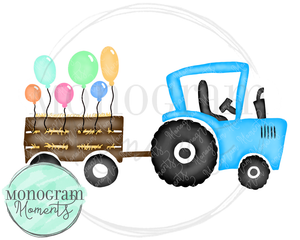 Blue Birthday Balloon Tractor