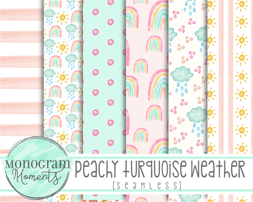 Peachy Turquoise Weather - Digital Paper