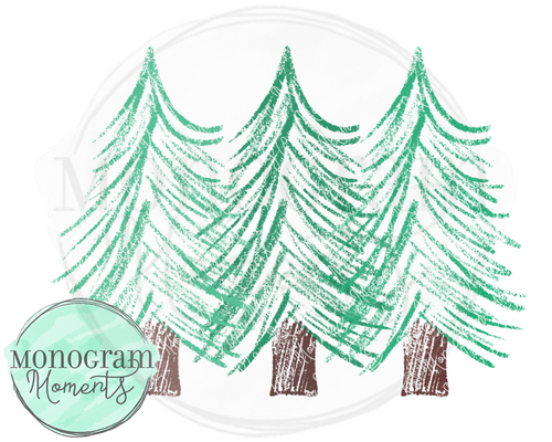 printable sublimation christmas tree trio