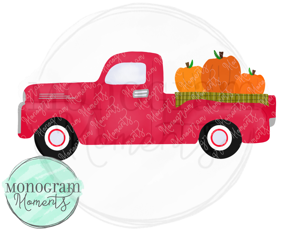 Red Old Timey Truck with Pumpkins