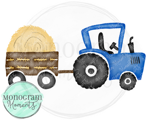 Blue Tractor with Hay Bale