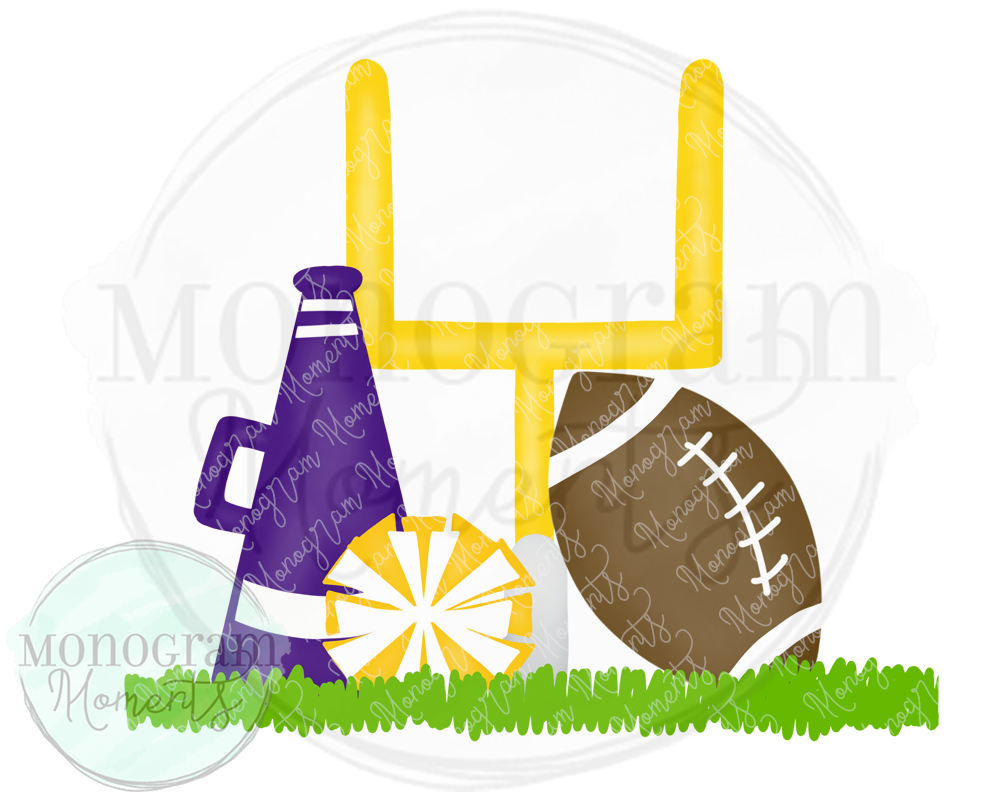 Purple & Yellow Cheerleader Goal Post