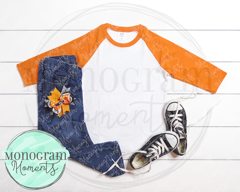 Girl's Orange Raglan & Halloween Bow Mock Up - ARB Blanks