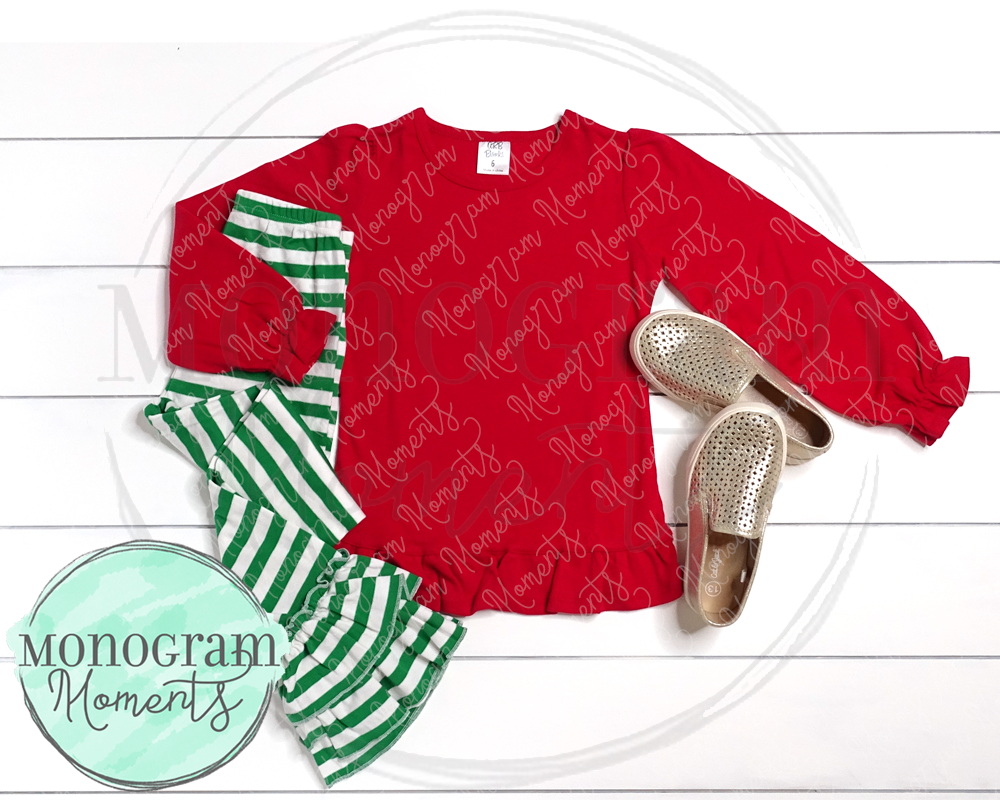Girl's Red LS & Green Striped Ruffle Pants - ARB Blanks