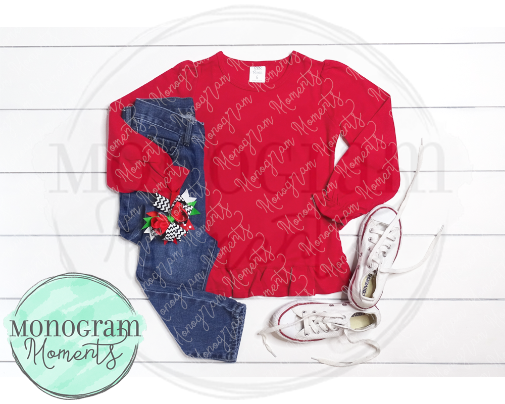 Girl's Red LS & Jeans Christmas Mock Up - ARB Blanks