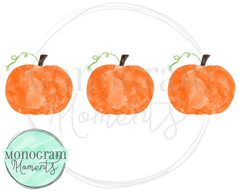 Watercolor Pumpkin Trio