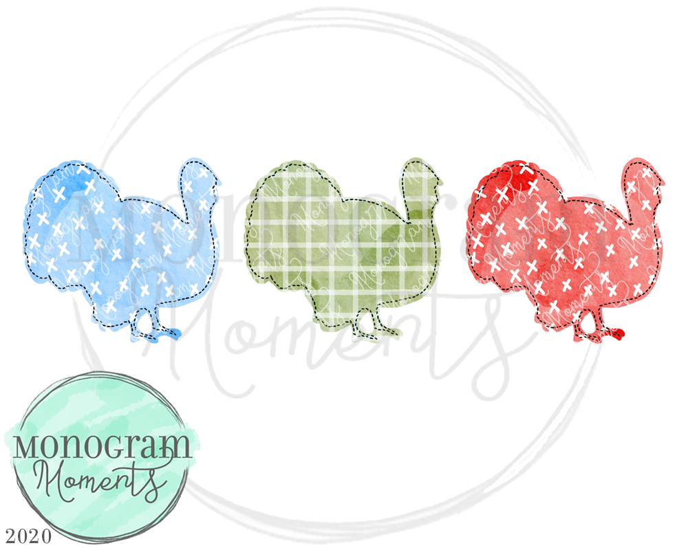 Watercolor Turkey Patterns Trio