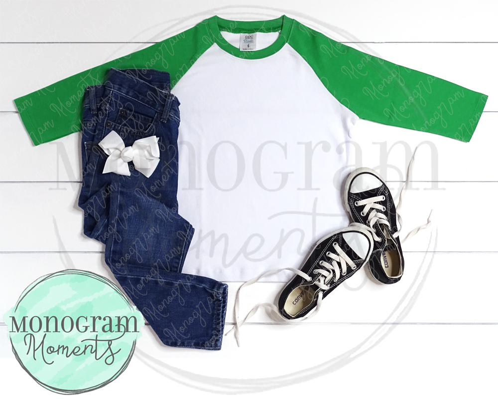 Girl's Green Raglan, White Bow & Jeans - ARB Blanks