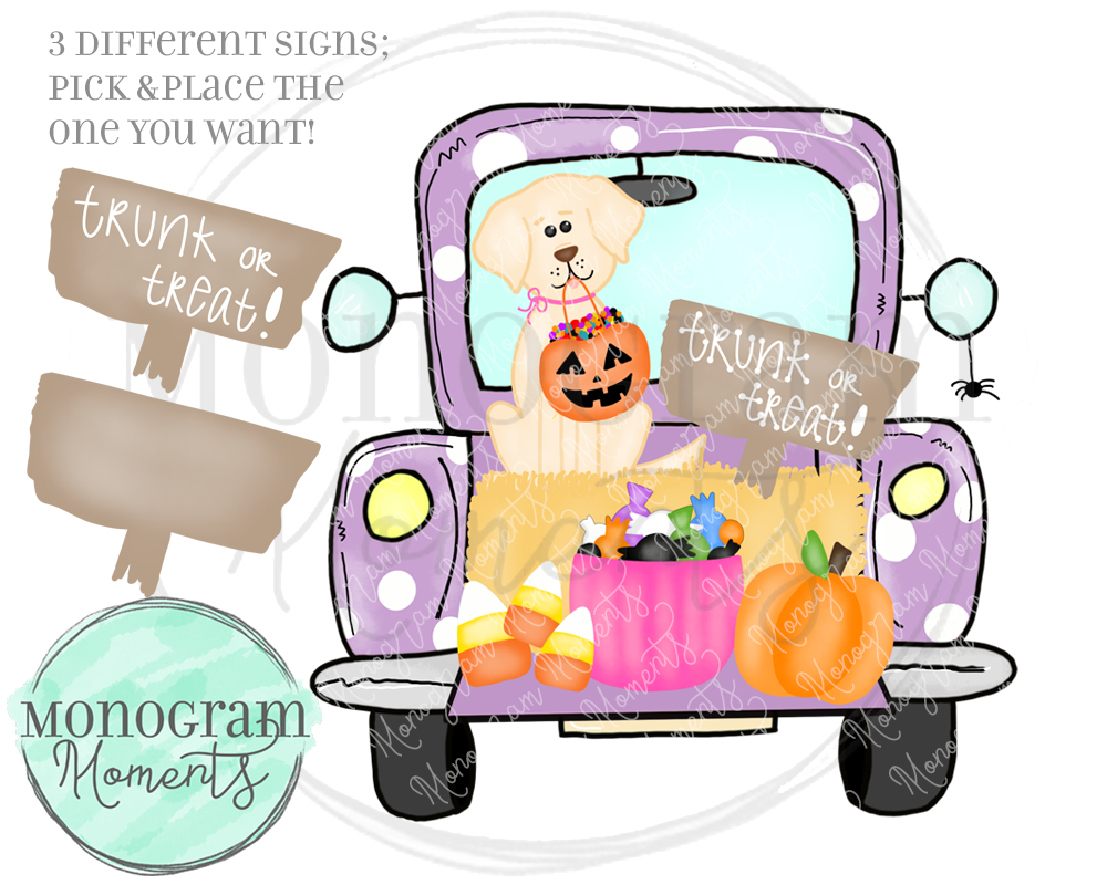 Purple Trunk-or-Treat Truck & Yellow Lab