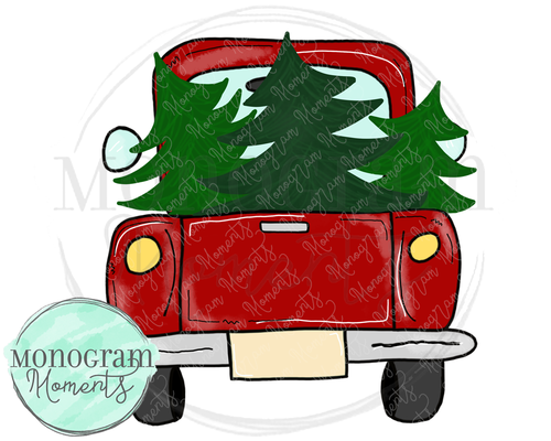 Back of Vintage Truck Christmas Trees