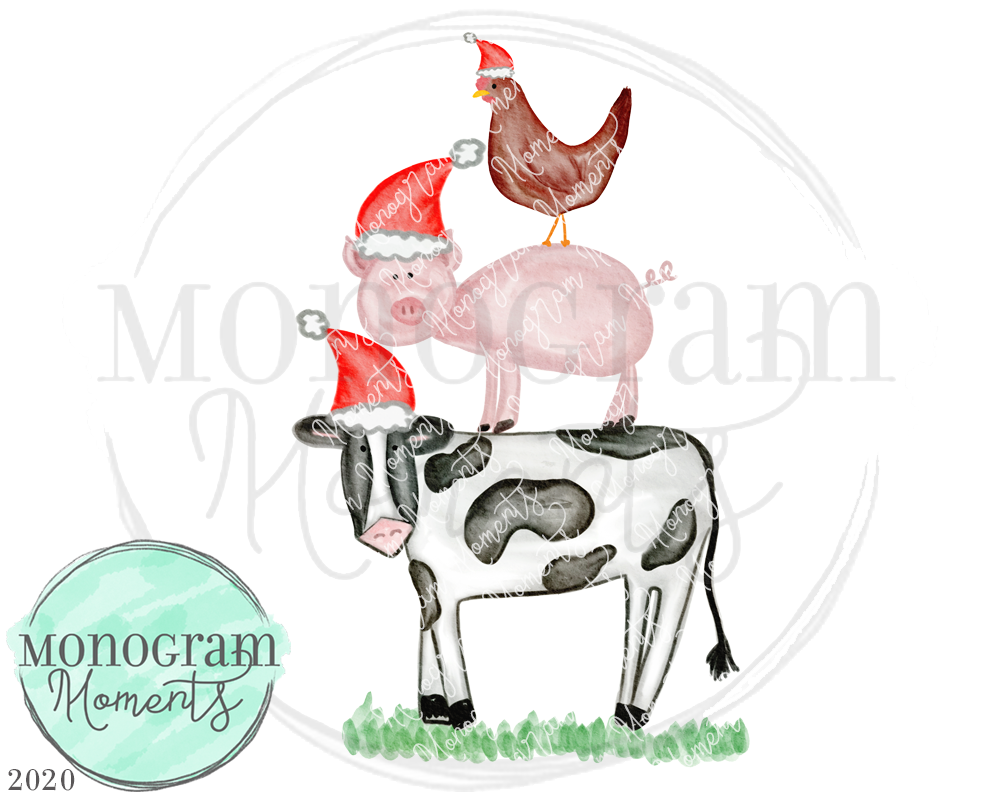 Whimsy Christmas Hats Cow, Pig, Chicken Stack