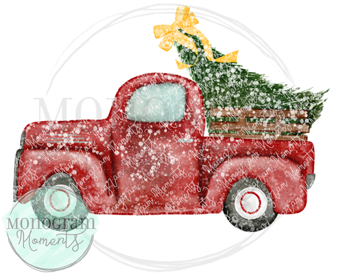 Vintage Truck with Tree, Bow, & Snow