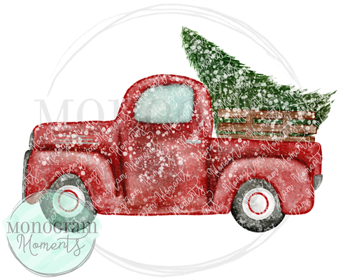Vintage Truck with Tree & Snow