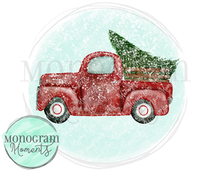 Vintage Truck with Tree, Snow, & Background