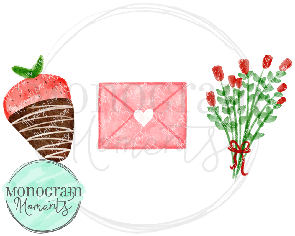 Strawberry, Letter, & Roses Trio