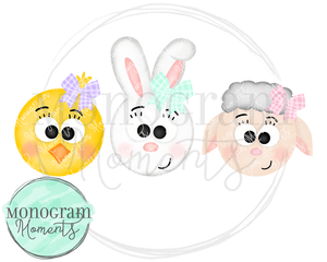 Girl's Easter Animals Trio