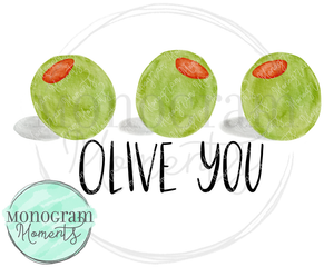 Watercolor Olive You Trio