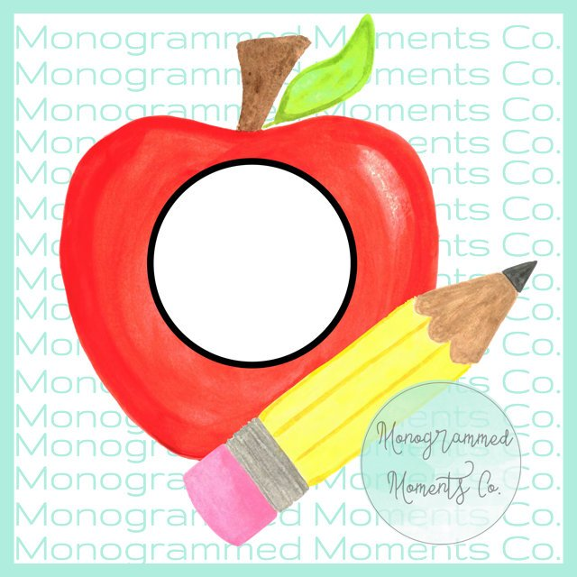 Apple and Pencil Monogram