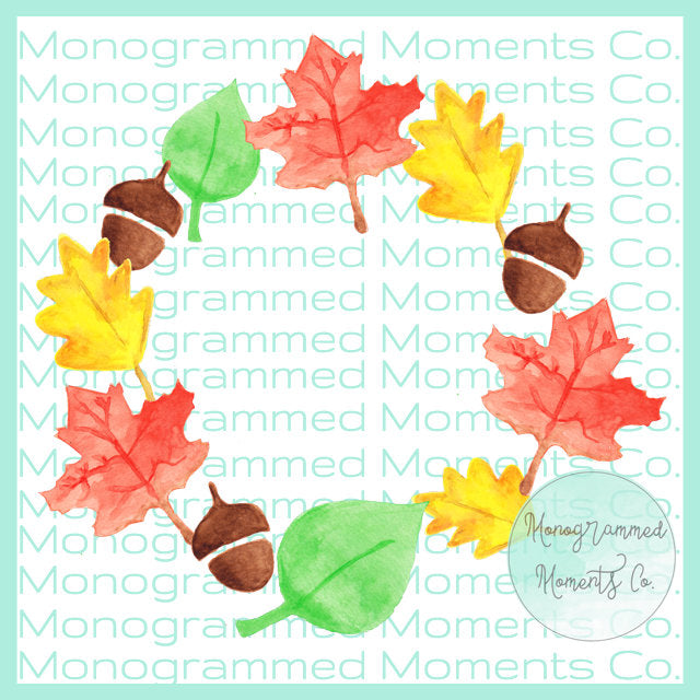 Fall Leaves Monogram Wreath