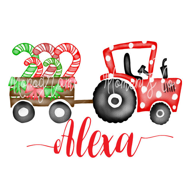 Girl's Tractor Pulling Candy Canes