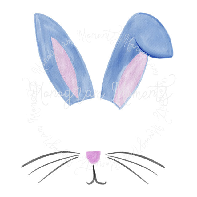 Blue Easter Bunny Ears Monogram