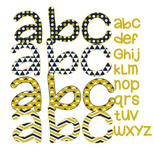 Digital Applique Font -  Mustard & Navy Font for Girls