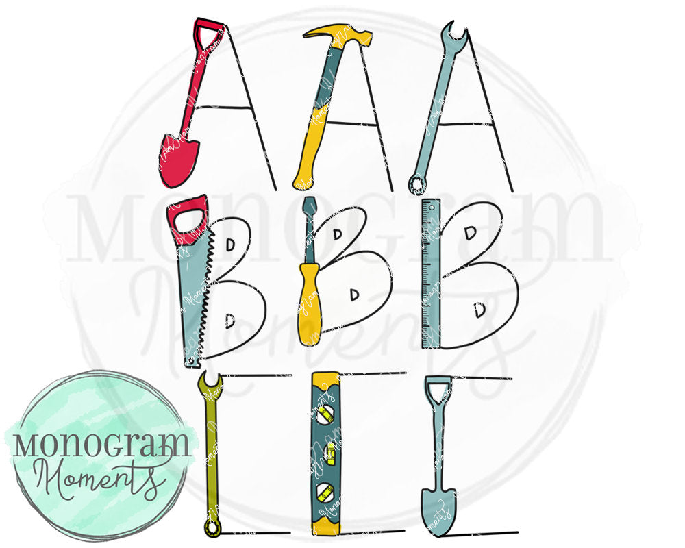 Boy's Tool Set Alphabet Font