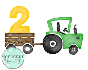 2nd Birthday Green Tractor