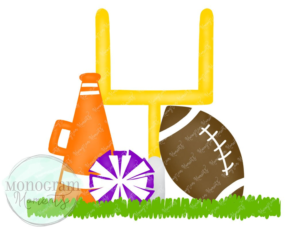 Orange, Purple Cheerleader Goal Post