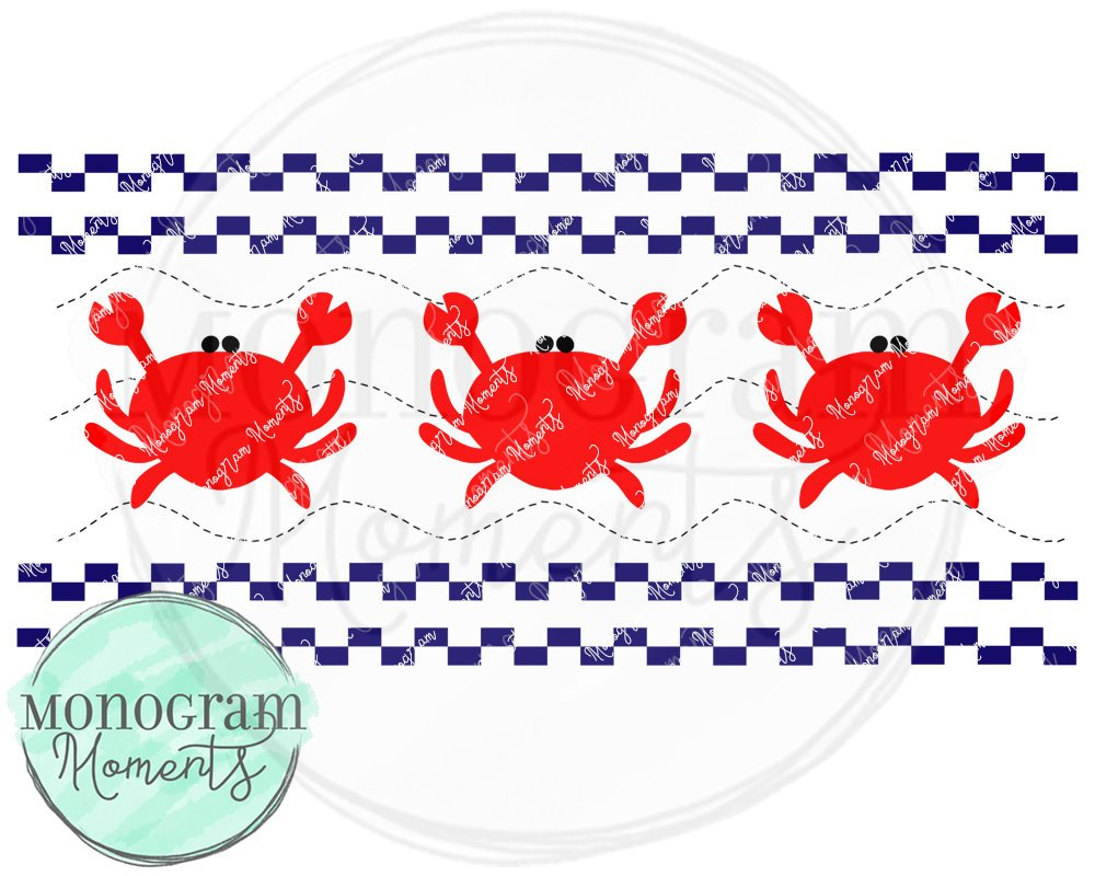 Navy Beach Crabs-Faux Smocking