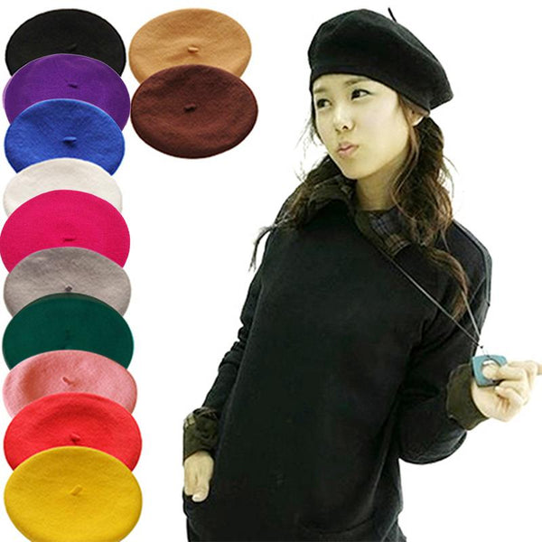 478c4ac72b9 Women s Solid Color Beret Girl s French Artist Warm Wool Winter Beanie ...