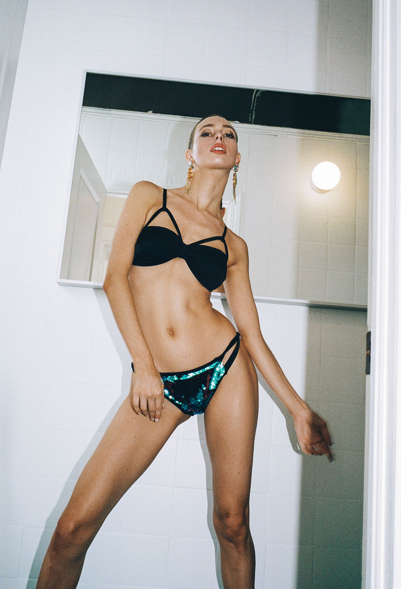 Black Strappy Swim Top and Sequined Bottoms