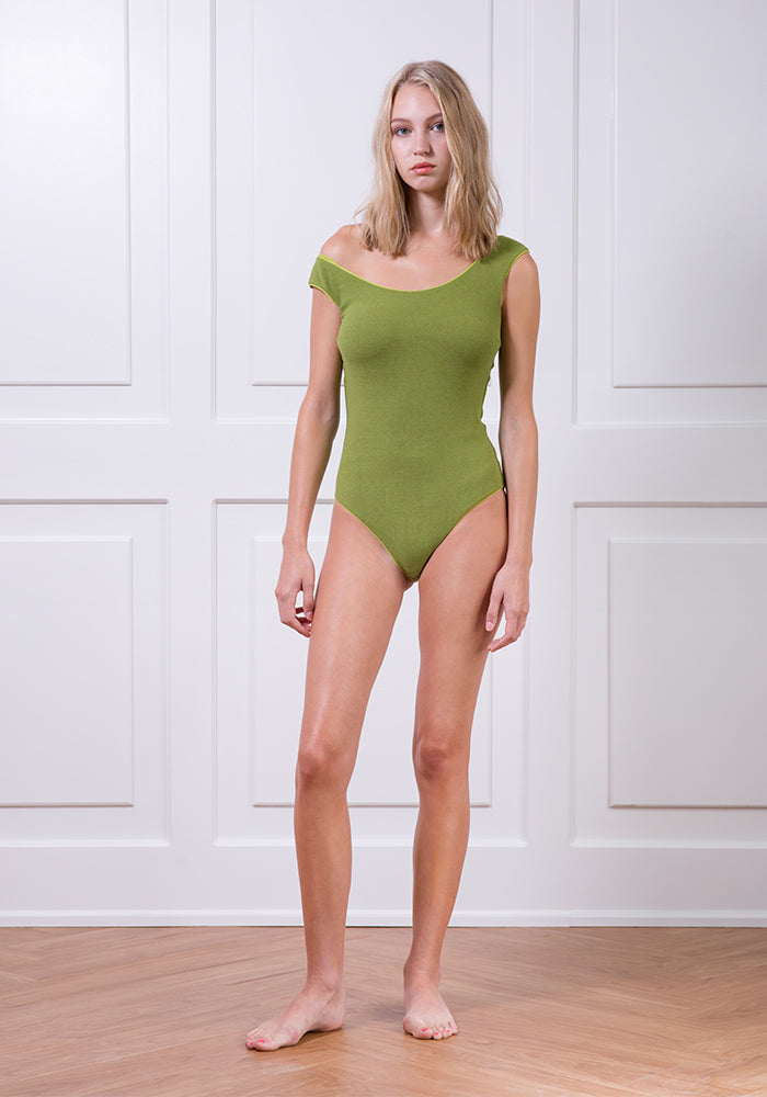 Green textured classic one-piece