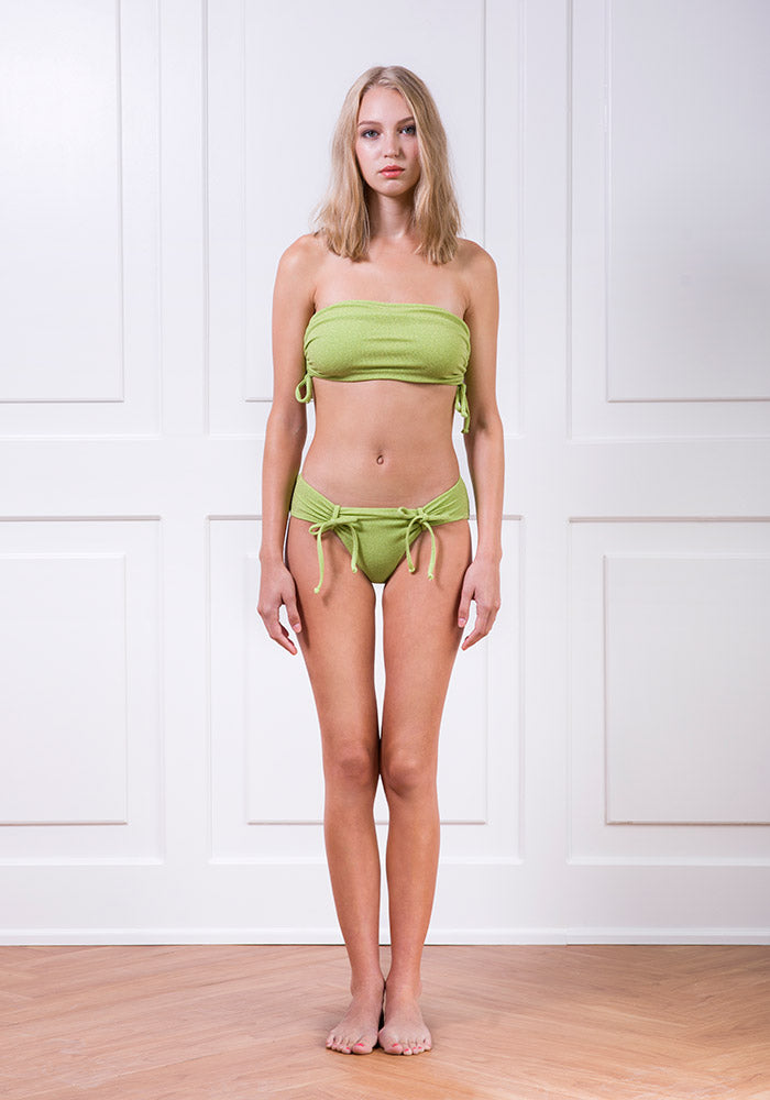 Chartreuse gathered side bikini top and knotted bikini bottom