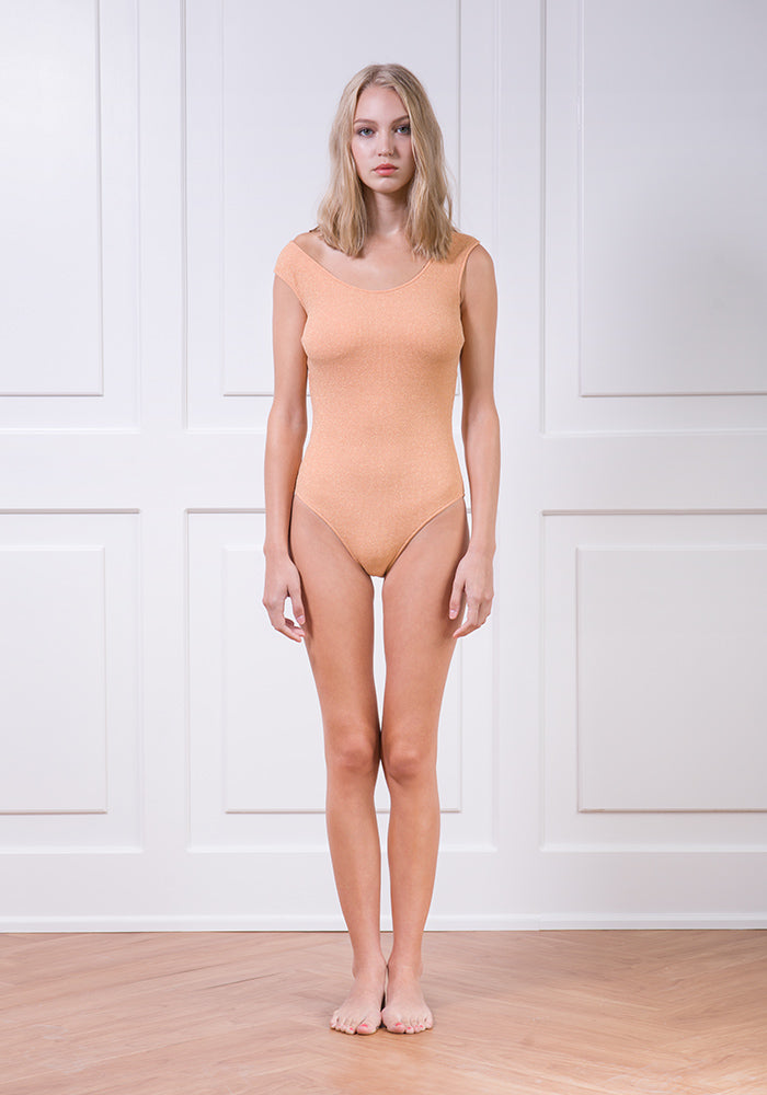Peach textured classic one-piece