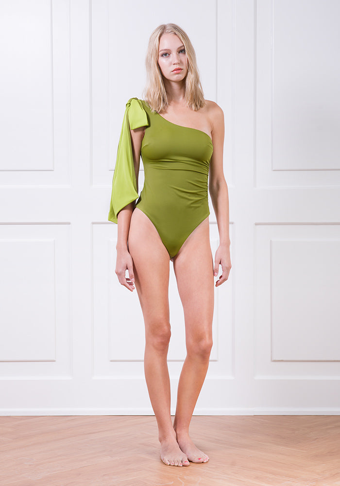 Asymmetrical one-piece with shoulder bow