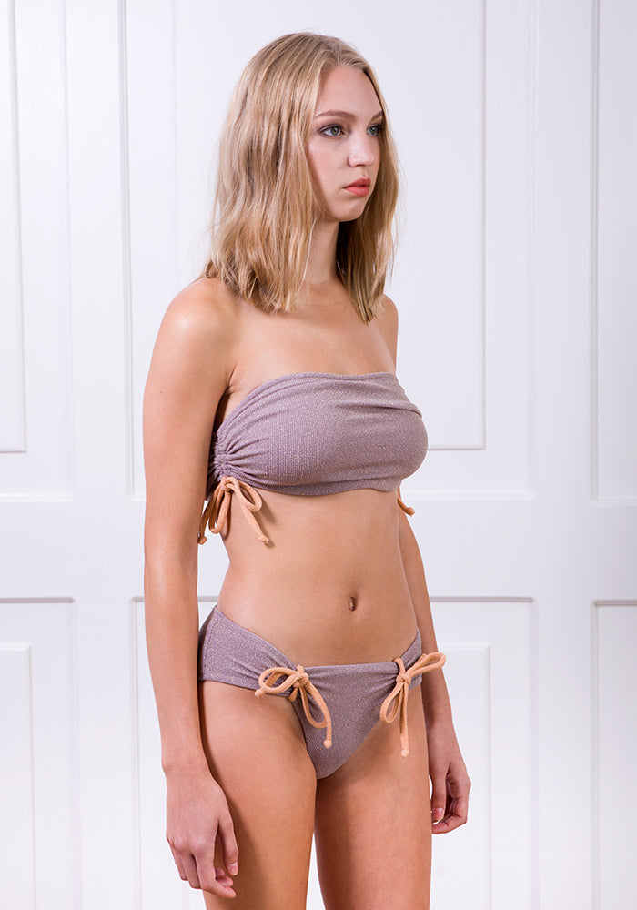 Lavender gathered side bikini top and knotted bikini bottom