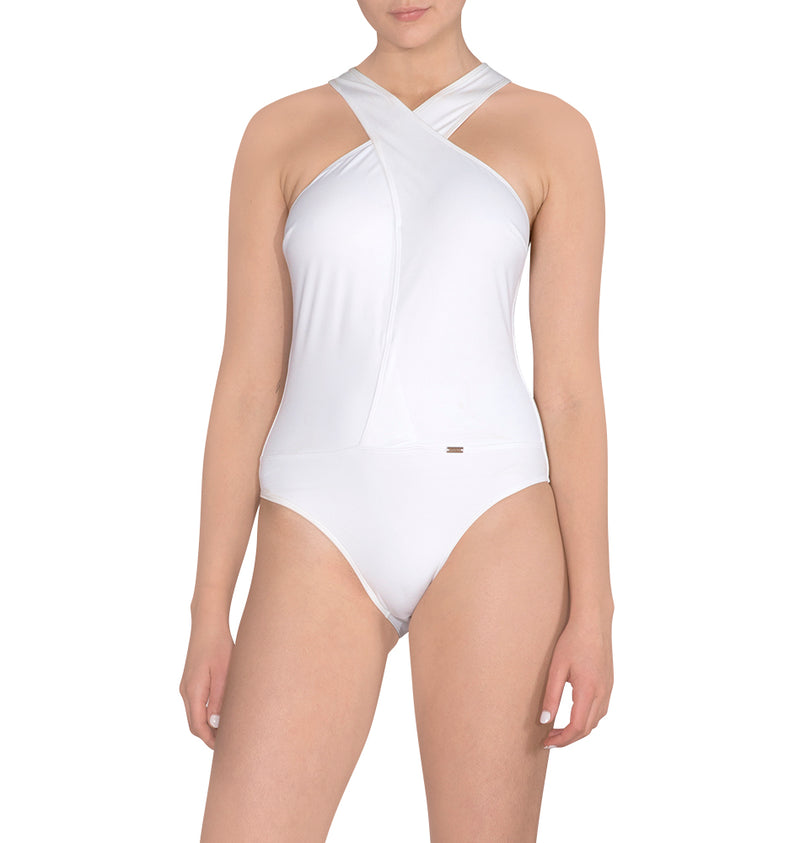 Cross-strapped one-piece bodysuit