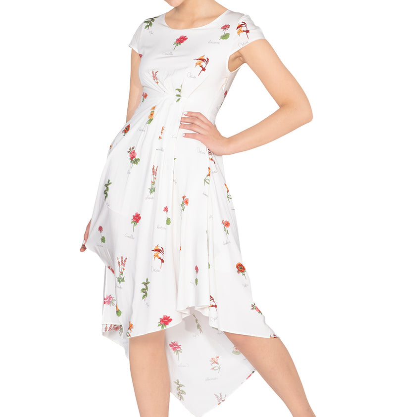 Asymmetric floral print midi dress