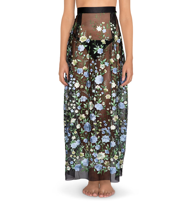 Floral embroidered mesh skirt