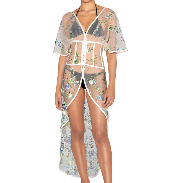 High-low floral embroidered cover-up