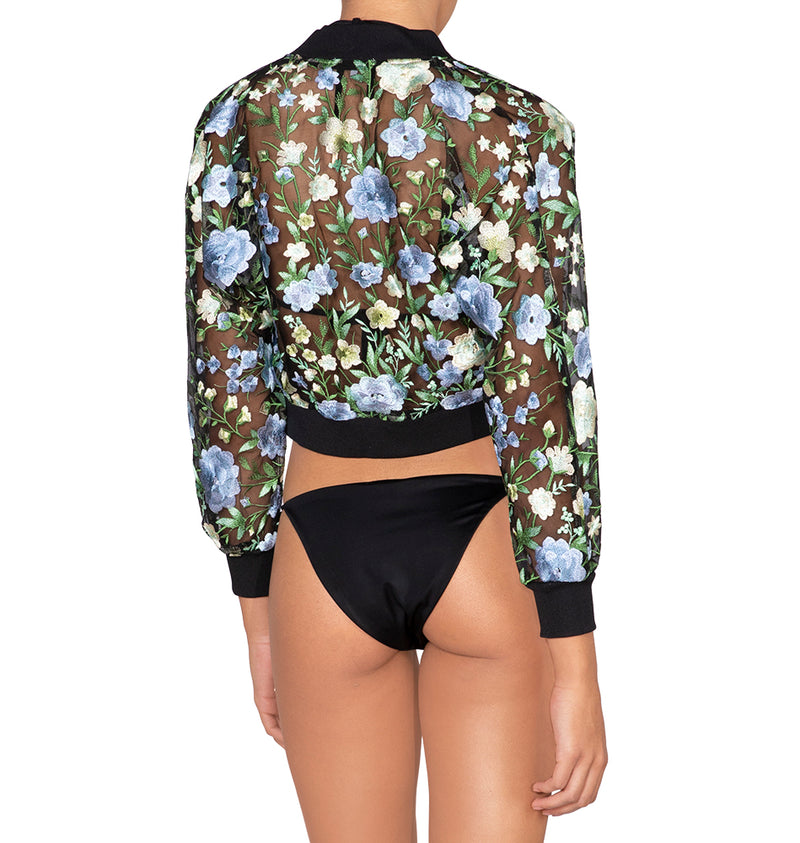 Cropped floral embroidered jacket