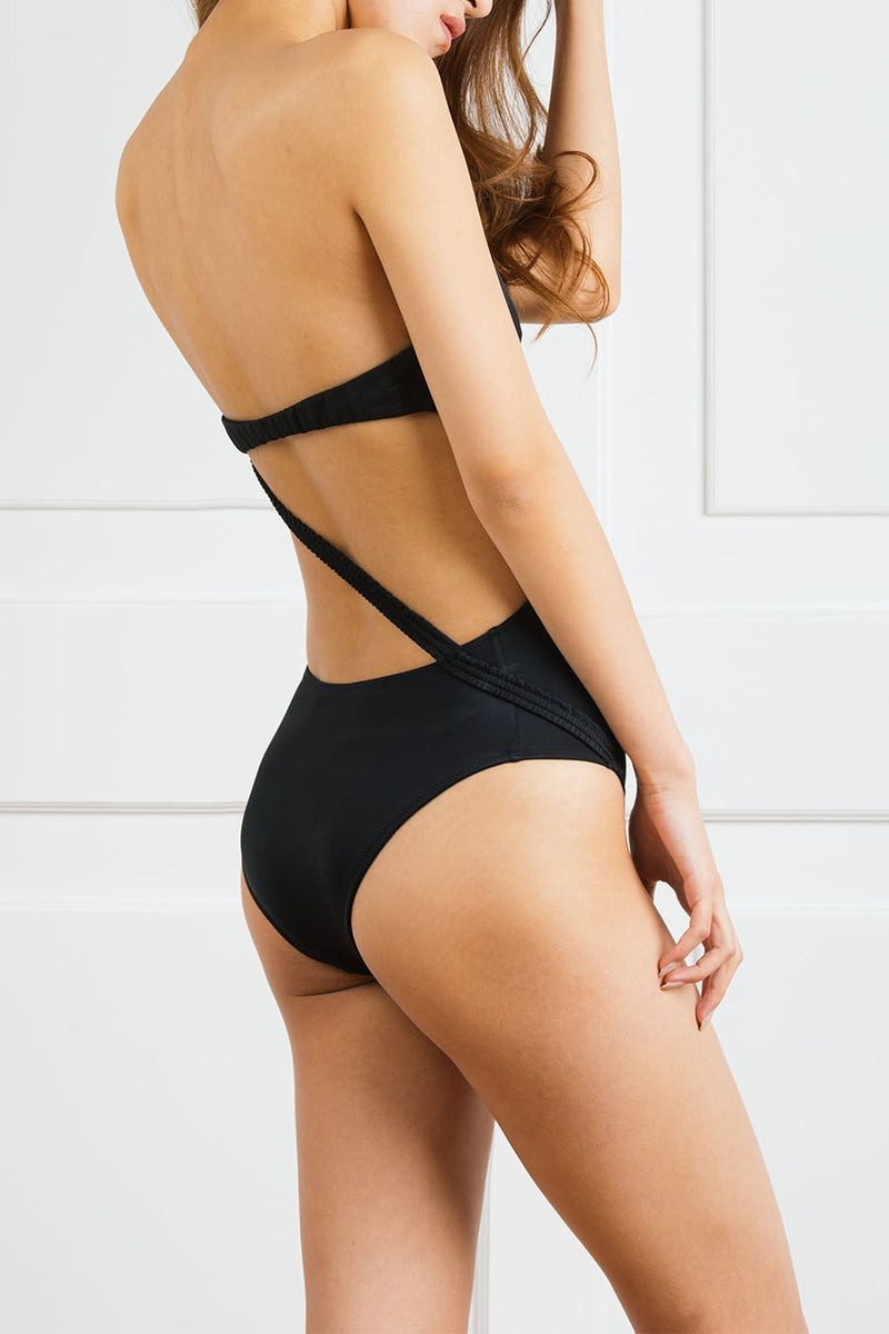 Martini Logoed Strapless One-Piece with Open Back