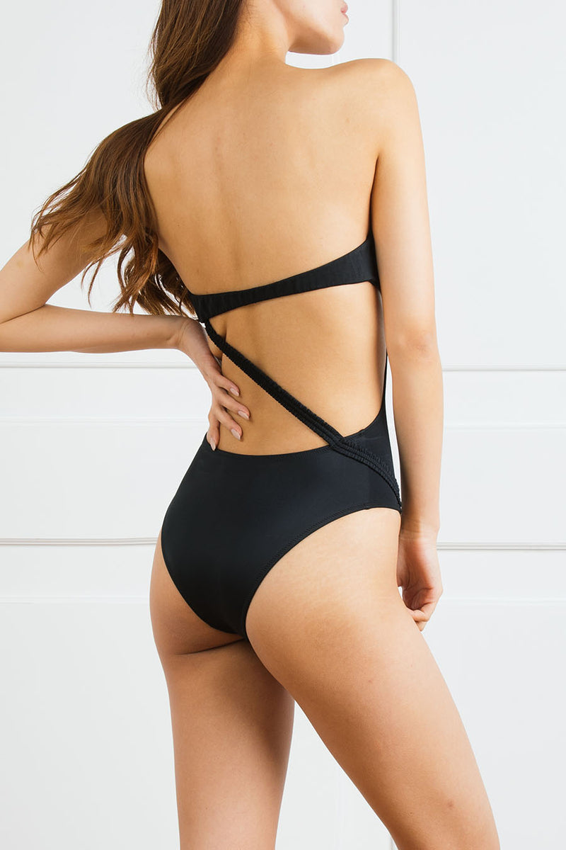 Logoed Strapless One-Piece with Open Back